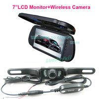 "Cheap Free Shipping!!7"" LCD Color Car Mirror Monitor+Wireless IR Reverse Car Rear View Backup Camera car rearview kit"