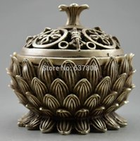 Wholesale Collectible Decorated Old Handwork Tibet Silver Carved Lotus Incense Burner