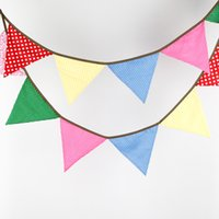 Wholesale 3 M of Flags Cotton Fabric Banners Personality Wedding Bunting mutli color Vintage Style Party Birthday Baby Shower Garland Decoration