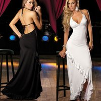Wholesale black prom dresses sexy backless cocktail dresses v neck halter Spaghetti backless sheath long skirts prom gowns