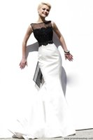 Wholesale 2015 Mermaid Prom Dresses Black Lace and White Satin Bow Back Formal Gown