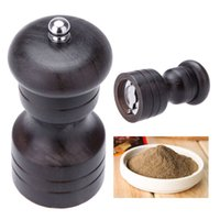 Wholesale 4 quot Kitchen Wooden Pepper Spice Mill Shaker Grinder Vintage Manual Salt Mini Portable Grinding Tool Cooking Accessories Tools