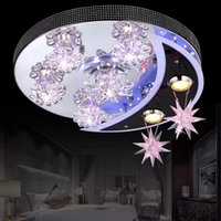 Wholesale HuaRui romantic dome light living room lighting children room cartoon decorative star and moon lamp by crystallamp
