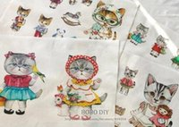 Wholesale lovely cat cotton fabric linen cotton cm cm zakka diy fabric perfect for patchwork and crafts B201351