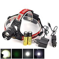 Cheap Hot Sale Boruit Green Laser Headlamp LED Zoomable Head Flashlight Torch Light For Outdoor Hunting with 4000mAh Battery+ Ac Car Charger