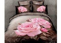 Wholesale Pink rose bedding Home textile bedspread cotton duvet cover bedroom sets d bedding sets queen d duvet cover sets