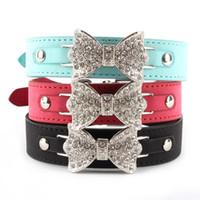 achat en gros de xs arc chien-Prix d'usine! Collier de chien Bling Crystal Bow Cuir Pet Collar chiot collier Collier XS S M