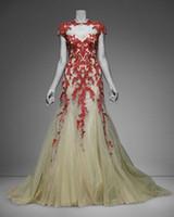 Apliques de alta Monique Lhuillier roja del cordón de la manga del casquillo del cuello de la sirena de magníficos vestidos de noche del partido atractivo elegante vestido de fiesta Vestidos Vestidos Chic