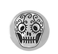 Wholesale 20MM vintage silver sugar skull snap buttons for snap bracelets