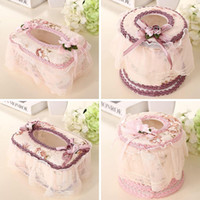 Wholesale Large Tissue Boxes Home Bedroom Decor European Style Tissue Holder Chiffon And Plastic Car Napkin Holders JC0095 Salebags