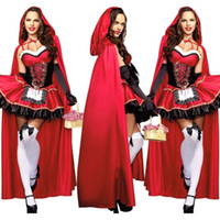 Wholesale IMVATION Halloween New Arrival Sexy Little Red Riding Hood Ladies Fancy Mini Dress Hens Party Outfit Costumes