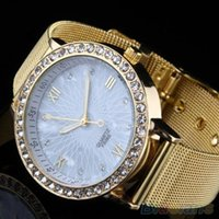 Cheap Women Elegant Crystal Roman Numerals Golden Plated Metal Mesh Band Wrist Watch
