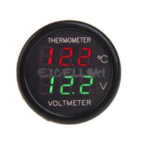 Wholesale 2 In Car V Red Blue Dual Display Red Green LED Dual Digital Thermometer Voltmeter Temperature Meter