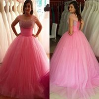 Wholesale 2015 Quinceanera Dresses Pink Quinceanera Ball Gowns Beaded Bodice Ruched Tulle Plus Size Ball Gown Wedding Dresses with Straps