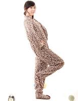 Wholesale 2014 Polar Fleece Adult Unisex Women Men Leopard Footed Onesie One Piece Pajamas Pyjamas Jumpsuits Sleepwear Plus Size S M L XL