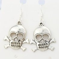 antique skulls - 2016 hot x22 mm Antique Silver Skull Charm Earrings Silver Fish Ear Hook Chandelier E982