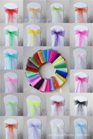 Wholesale Colorful colors Wedding Party Banquet Organza Sash Bows For Chair Cover X275cm Wedding Supplies Cheap Organza Chair Covers Sash Bows