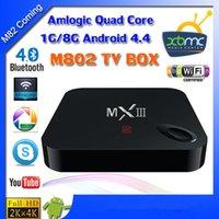 Wholesale MXIII MX III M82 Amlogic S802 Quad Core Cortex A9 Android WiFi TV Box GB GB Media Hub SUpport K HDMI Wifi XBMC Ethernet IR Remote