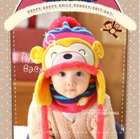 beach monkeys - New Cute Caps Baby Knitted Hat Winter Warm Baby Beanie Hat Beanies for Girls Boys Beanie Animal Monkey Candy Color Children Hat