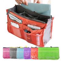 Aluminum $10 handbags - 10 colors Bag in Bag Dual Insert Multi function Handbag Makeup Pocket Organizer Purse ZD21