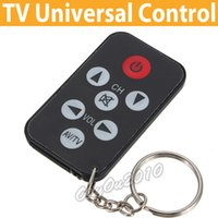 Wholesale Best Promotion New Arrival Black Mini Universal Infrared IR TV Set Remote Control Keychain Key Ring Keys