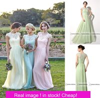 Wholesale 2016 Under Bridesmaid Dresses Wedding Party Guest Gowns With Jewel Neck Cap Sleeves Floor Length Chiffon Pink Blue Mint Real Image Cheap
