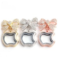 apple brooch pin - Apple and Bow floating locket DIY Jewelry transparent glass frames floating charms lockets brooches pins fashion jewelry KLF