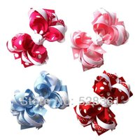 Wholesale Bulk quot Trendy Polka Dot Loopy Layered Hairbows Infant Baby Girl Boutique Hair Bow Clips Colors
