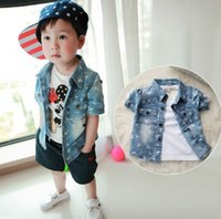 new clothes styles - 2015 Summer New Style Clothing Boys Cowboy Short Sleeve Shirt Korean Baby Kids Cartoon Mickey Shirt Children Shirts Clothes J3487