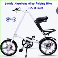 2015 Strida Folding Bike strida da 16 pollici in lega di alluminio Folding Bike nero / bianco / oro Sliver / rossi cinque colori Strada Folding Bikes Nessuno Spoke
