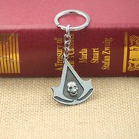 assassin pc - New Statement Keychain Assassins Creed Keychain Skull Logo Figure Pendant Rope Keychain Cosplay Game Accessories
