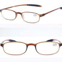 Wholesale Flexible New Light weight Men Women TR90 Frame Oval Reading Glasses Spectacles Reader Eyeglass Resin Eyewear Brown