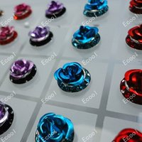 animal alphabet - 24Pcs Pairs New Whole Jewelry Fashion Rose Stainless Steel Stud Earrings LR299