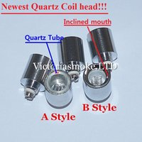 Wholesale 2016 Newest Dual Quartz wax dry herb coil Quartz Tube Coil for cannon vase bowling glass globe atomizer wax dry herb Glass Atomizer Ecigs