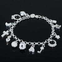Wholesale best gift cheap hot Sterling Silver CZ Crystal gemstone fashion jewelry cross moon charms bracelet or women JB06177