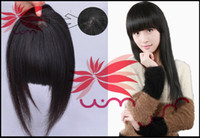 Wholesale Remy hair Seamless Bangs With Lace Hand Woven Center CM Extension Hair human hair bangs Clip In Fringe Clip In Bangs b