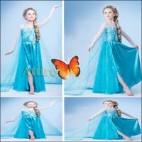 Cheap Costume Elsa Dress Cosplay Costume in Frozen Princess Elsa Costume Light Blue Frozen Dress for girls and kids