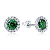 Wholesale New Arrival Sterling Silver Stud Earrings Flower Shape Fashion Jewelry with Green Stone Rhodium Plated For Women Wedding DE19120F