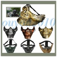 Wholesale 5 Colors Outdoor Survival Game Wargame Soldier Skull Skeleton Airsoft Hunting Mountain Biker Ski Half Face Protecting Mask Party