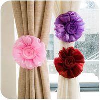 Wholesale 1 Pair Clip on Flower Curtain Tie Backs Tieback Holder Voile Drape Panel Colors