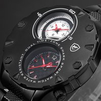 auto zone hours - New Shark Sport Watch Relogio Masculino Dual Time zone Two Dial Black Stainless Steel Band Hours Bussiness Men Wristwatch SH295