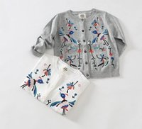 Wholesale New Fashion Children Clothes Girls Cartoon Bird Flower Embroidery Cardigan Sweaters Kids Casual White Gray Knits Tops