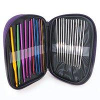 Wholesale 220needles case HOT Stitches Knitting Craft Case Aluminum Crochet Hooks Needles Knit Weave Z634