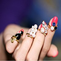 Wholesale 4pcs set Blue Crystal Black Cat Created Pearls Zircon Nail Rings Women Knuckle Ring JZ