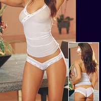 sexy bedroom costumes - Sexy Bedroom Chemise Sheer Mesh Camisol Panty Babydoll Womens Nightwear