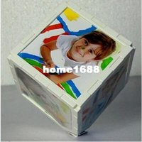 baby photo cube - Rotating magic cube photo frame white inch baby picture frames home decoration decor wedding birthday gift G50