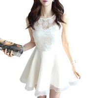 bell bottoms - MMFS1526 Korean New fashion Women lace embroidered organza voile bottoming Slim sleeveless summer chiffon dress I