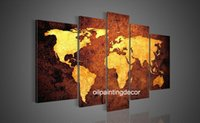 More Panel Oil Painting Abstract Hand Painted Canvas World Map Wall Art Large Oil Paintings Set 5 Piece Decoration Home Modern Abstract Picture Brown Golden Canvas Art