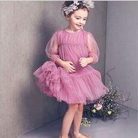 half full - 2015 Korean Style Girls Gauze Half Sleeve Elegant Princess Dress Two Colors Hot Sale Childrens Summer Ball Gown Dress Kids Full Dress