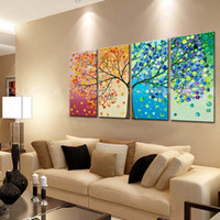 painting - Hand Painted Season Tree Painting On Canvas Piece Home Decoration Modern Wall Art Abstract Colorful Oil Picture Set